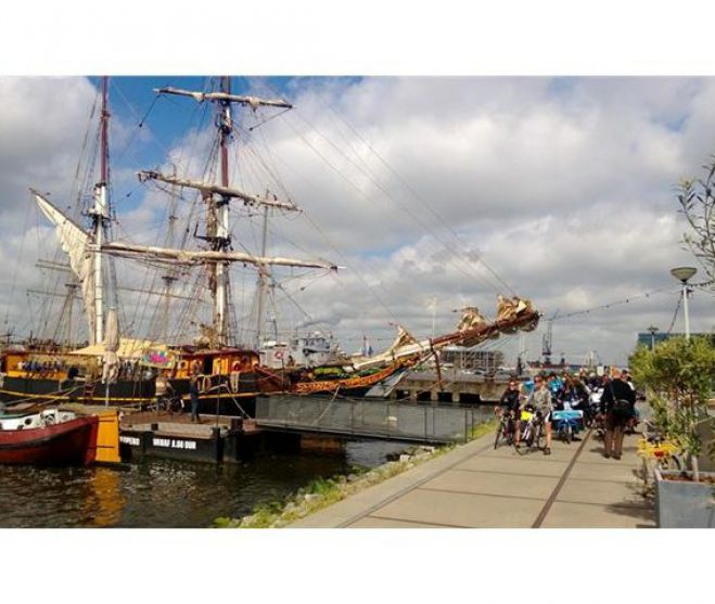 Aankomst Tres Hombres in Amsterdam